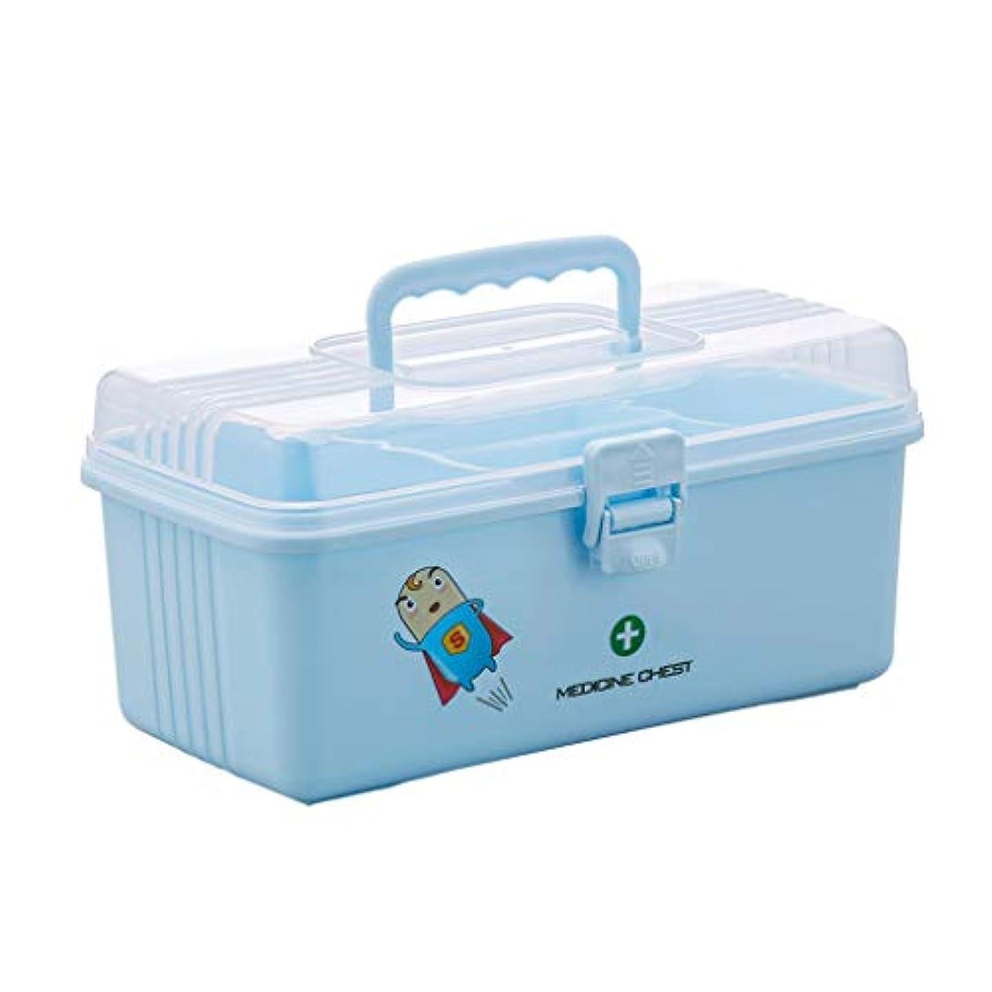 充電特異な色合い応急処置ケース薬箱家庭用薬収納ボックス便利な二重層大容量医療救急箱28.6 * 15 * 13 cm ZHAOSHUNLI (Color : Blue)