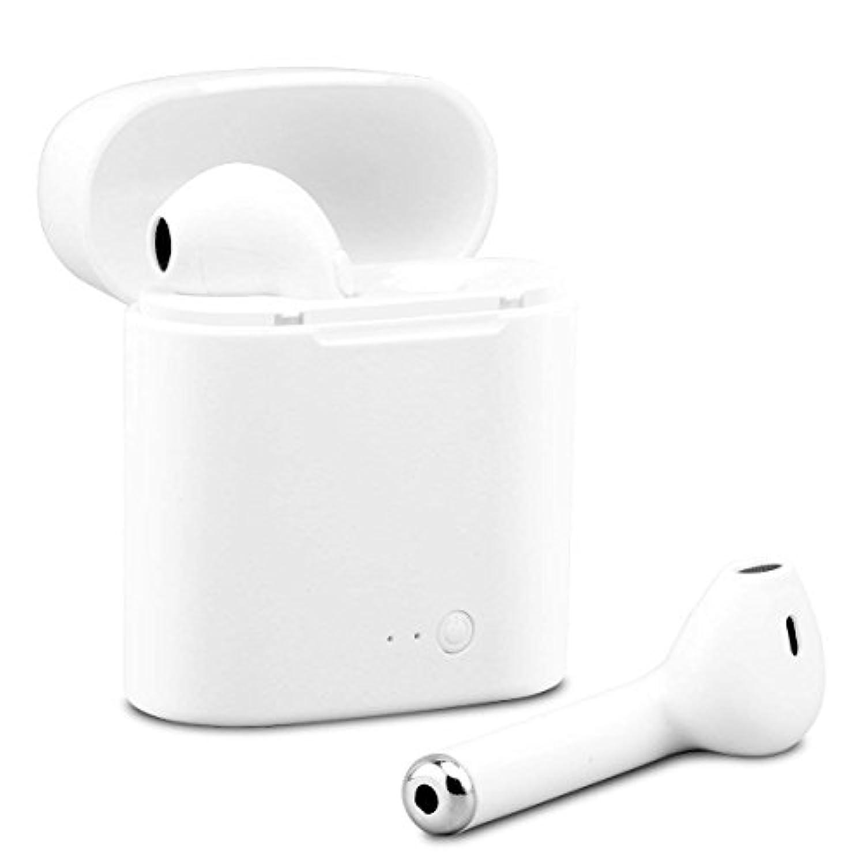 Bluetoothワイヤレスイヤホン ミニBluetoothイヤホン マイク付き インイヤーイヤホン スポーツコードレスヘッドホン ステレオベースイヤホンと充電ケース付き iPhone X 7 8 Plus Samsung Galaxy Android 用