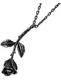 HOLLOOW ホロウ ローズ シルバー ネックレス ブラックコーティング キュービック バラ 薔薇 KHP-135BK-58