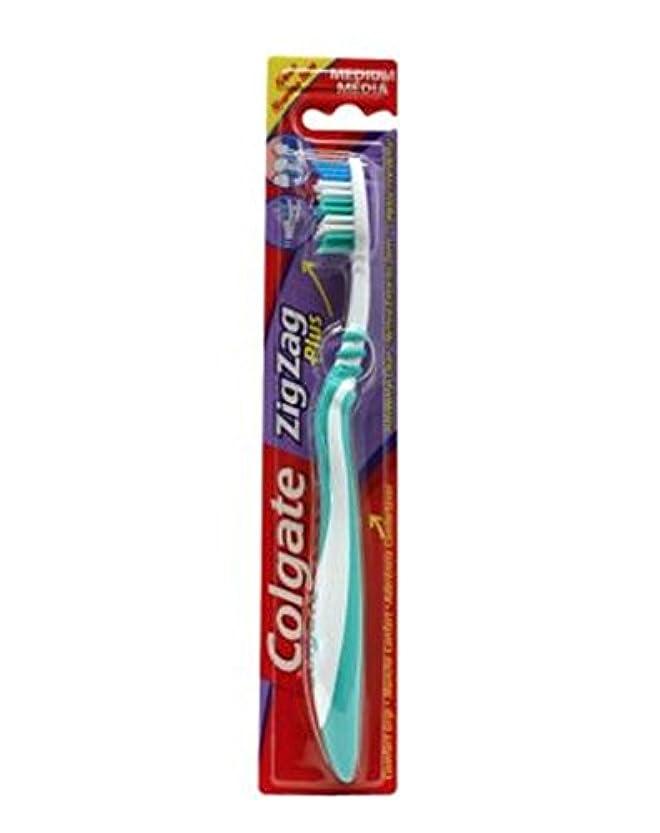 強いコロニアル子音コルゲートジグザグプラス歯ブラシ媒体 (Colgate) (x2) - Colgate Zig Zag Plus Toothbrush Medium (Pack of 2) [並行輸入品]