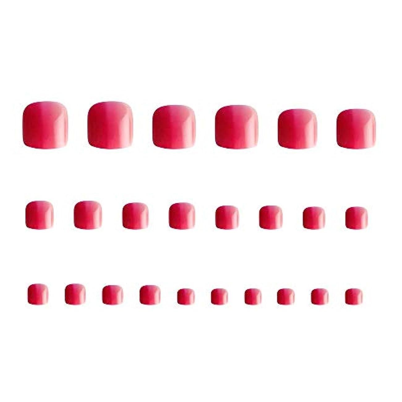 24枚 12別サイズ つや 足の爪 ピンク グラデーション 短い 四角形ネイルチップ フルカバー
