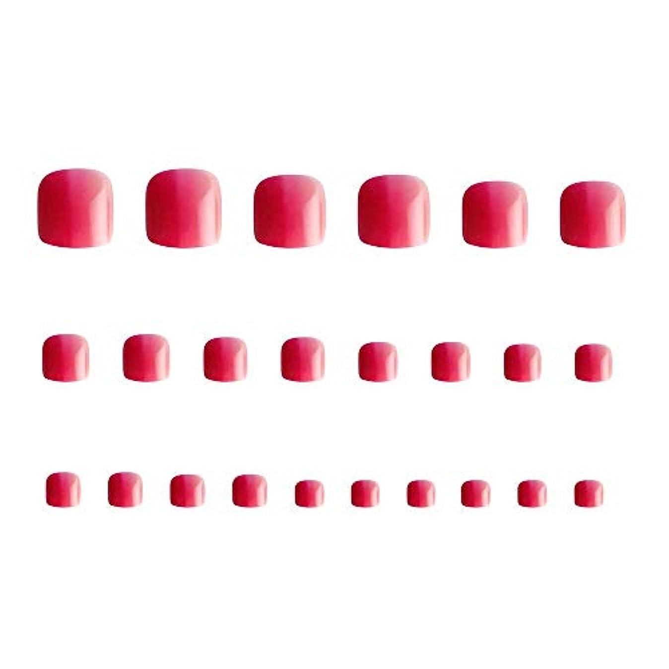 食欲メディア引用24枚 12別サイズ つや 足の爪 ピンク グラデーション 短い 四角形ネイルチップ フルカバー