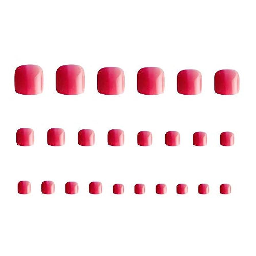 コーナースリット器用24枚 12別サイズ つや 足の爪 ピンク グラデーション 短い 四角形ネイルチップ フルカバー