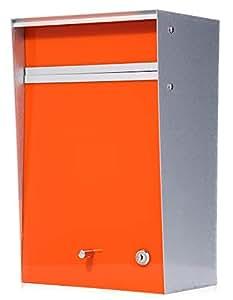 郵便ポスト デザイナーズ A4サイズ対応 (幅26x奥行18x高40cm) [Wall mounted-ウォールマウンテッド-] [MoMA認定品/壁掛け/鍵付き] 全8色 【Box Design 正規品】 オレンジ