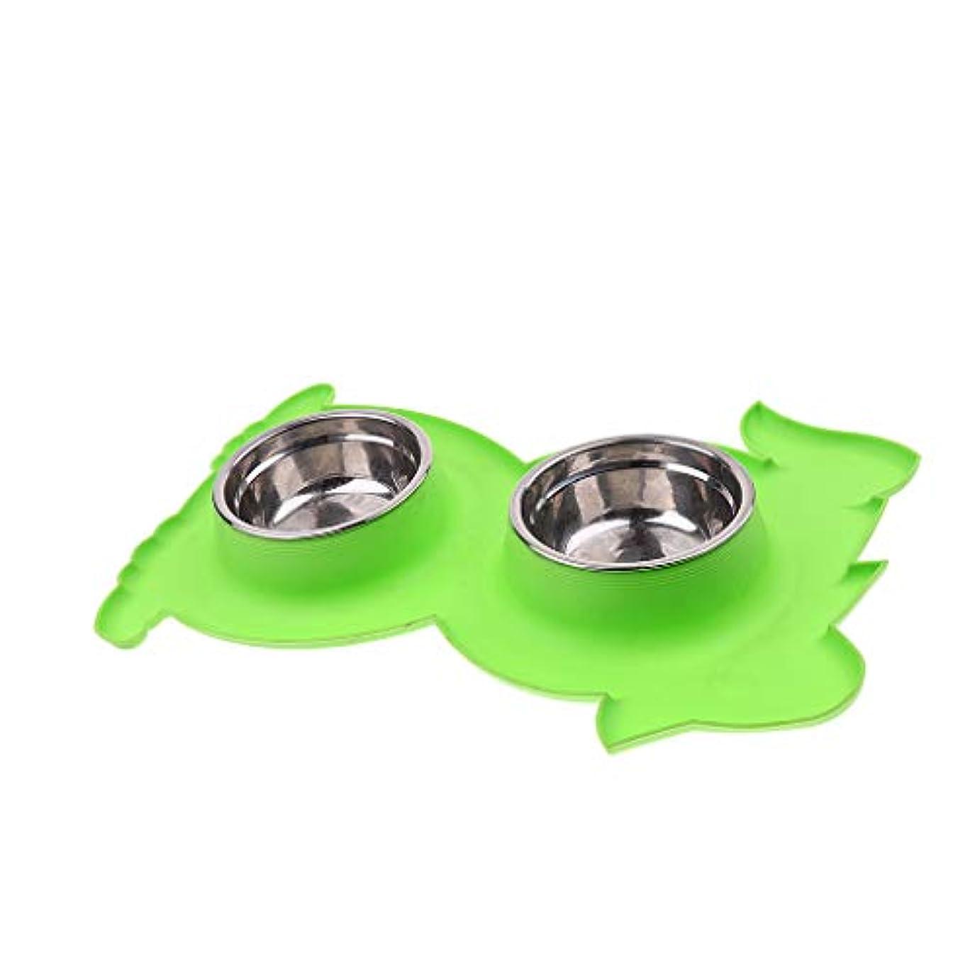 郵便番号定期的にこんにちはPerfeclan 犬 猫 食品 給水 装置 ボウル 滑り止め 持ち運び便利 3色選べる - 緑