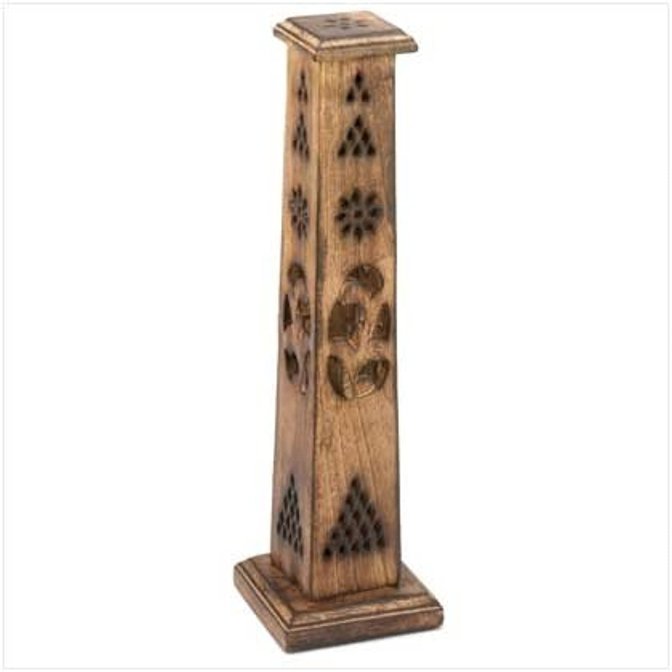 壊れた農業協力的Wooden Artisan Decor Incense Stick Holder Tower Stand