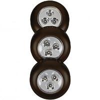Fulcrum LED乾電池式stick-onタップ3= 6ライトのライト、ブラック(2パック)