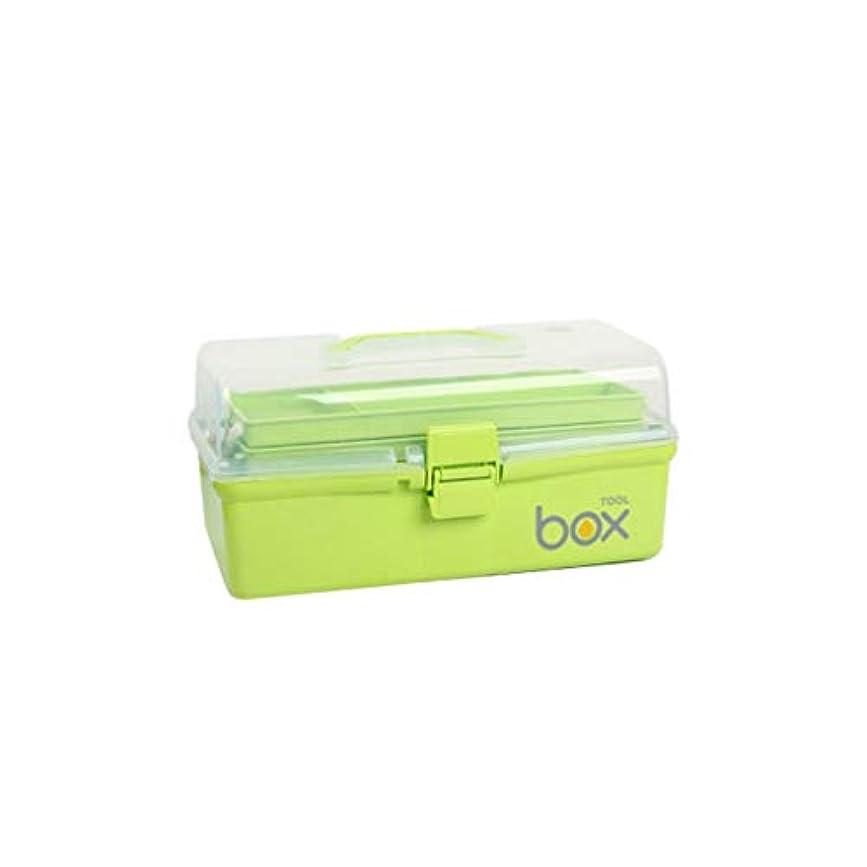横たわる報復船尾家庭用多層薬箱プラスチック薬収納ボックス救急箱ヘルスケアボックス2サイズオプション AMINIY (Color : Green, Size : 30.5×18×15cm)