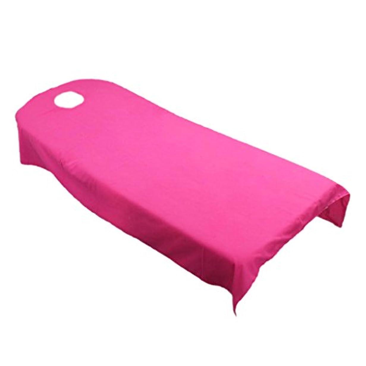 埋めるラオス人継続中タオル地 ベッドカバー ソファーカバー シート 面部の位置 ホール付き 美容/マッサージ/SPA 用 9色選べる - ホトピンク