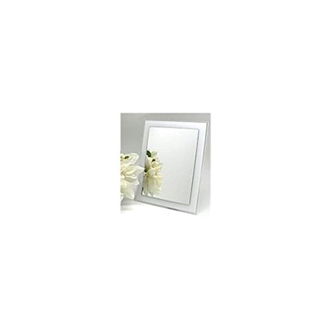 霧深い締め切りプラスメリー ミラー ホワイト 本体:24.5×19.5×2cm、鏡面:20×15cm