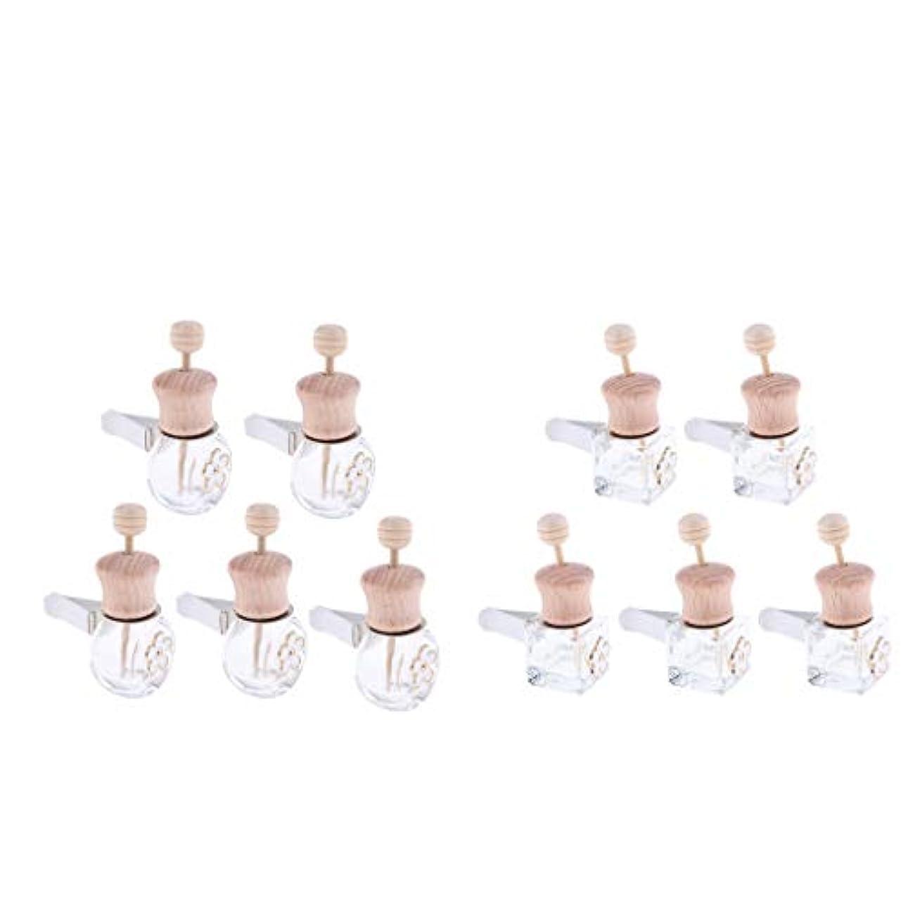 かかわらずロゴ言語Hellery 香水瓶 ペンダント 空 ガラス 車 飾り 詰め替え用 8ml+6ml プレゼント 10個入