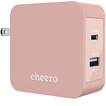 cheero 2 port PD Charger USB-C PD 18W + USB-A 合計 30W (パワーデリバリー対応 充電器 小型アダプタ) 対応機種へ超高速充電 AUTO-IC搭載 折り畳み式プラグ 2ポート CHE-327
