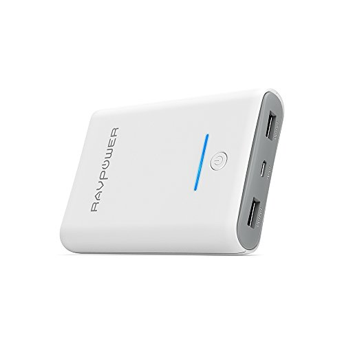 RAVPower モバイルバッテリー 10000mAh 大容量 軽量 急速充電 2ポート iPhone Android 対応 白 RP-PB005
