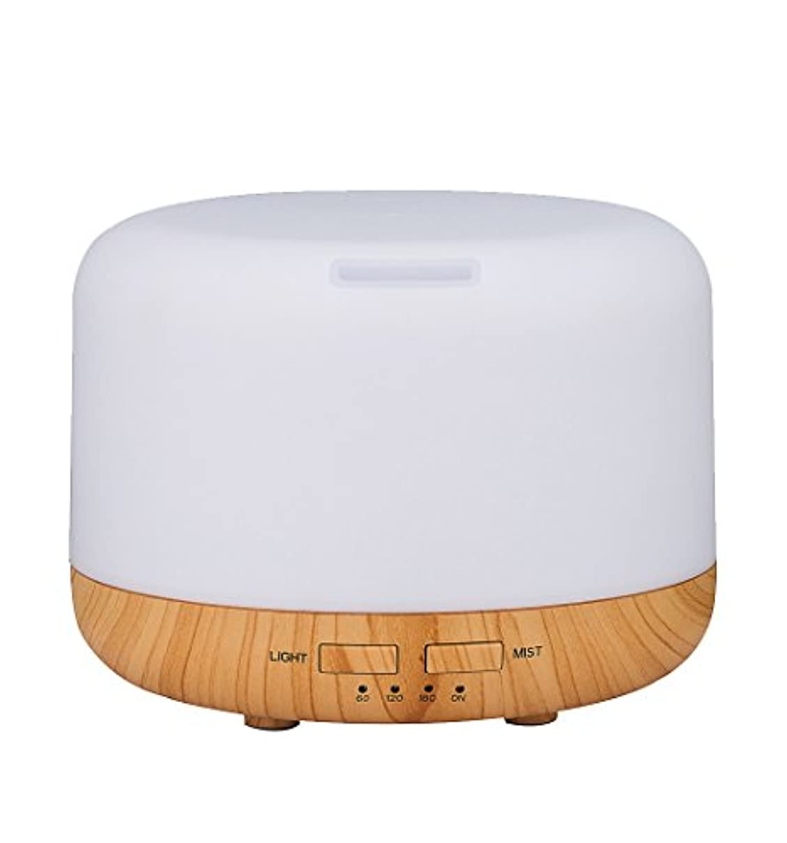 国民攻撃事務所Simple Life アロマディフューザー 超音波式 加湿器 400ml 7色変換LED搭載 木目調 アロマライト (ホワイト)