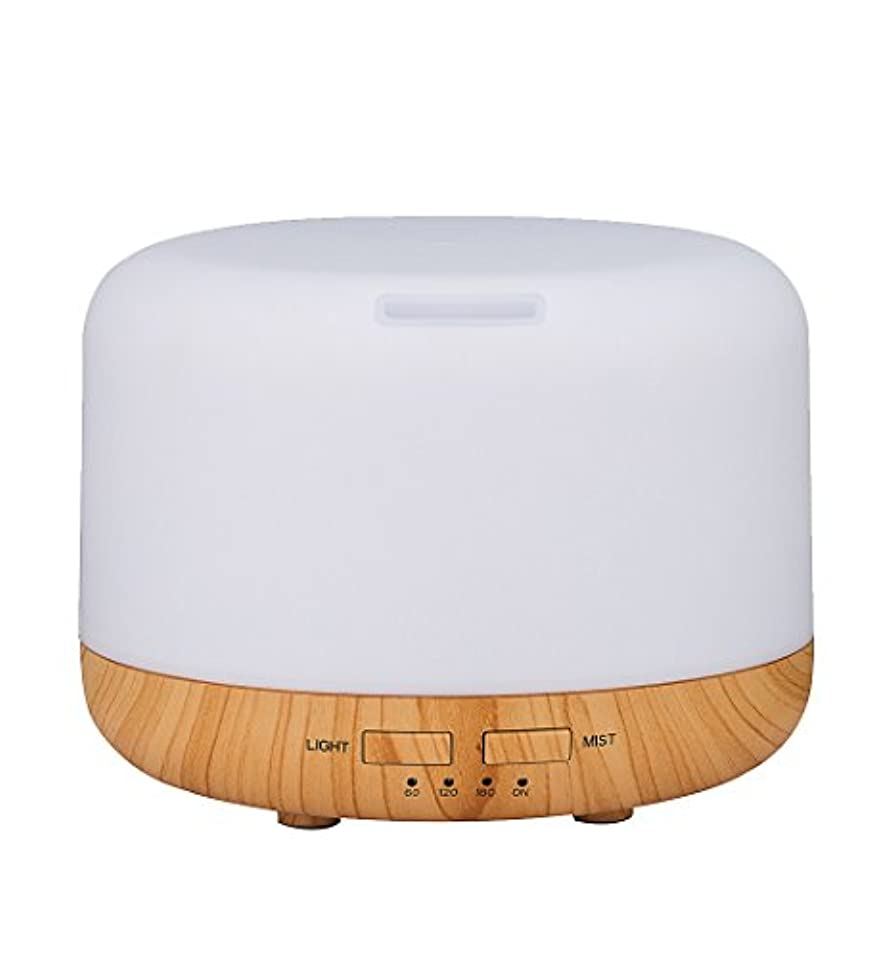 すごい脱走ジャンプSimple Life アロマディフューザー 超音波式 加湿器 400ml 7色変換LED搭載 木目調 アロマライト (ホワイト)