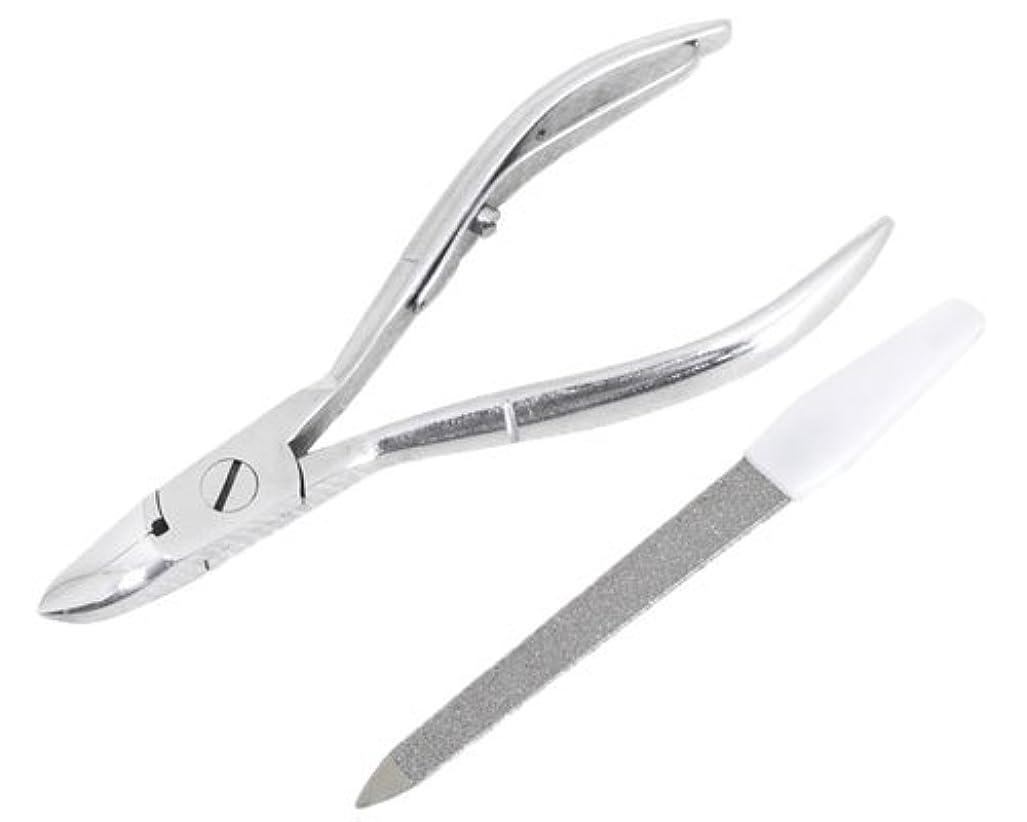 ブロンズ受付版ニッパー型爪切り 爪仕上げヤスリ付 F-21 (スミカマ)