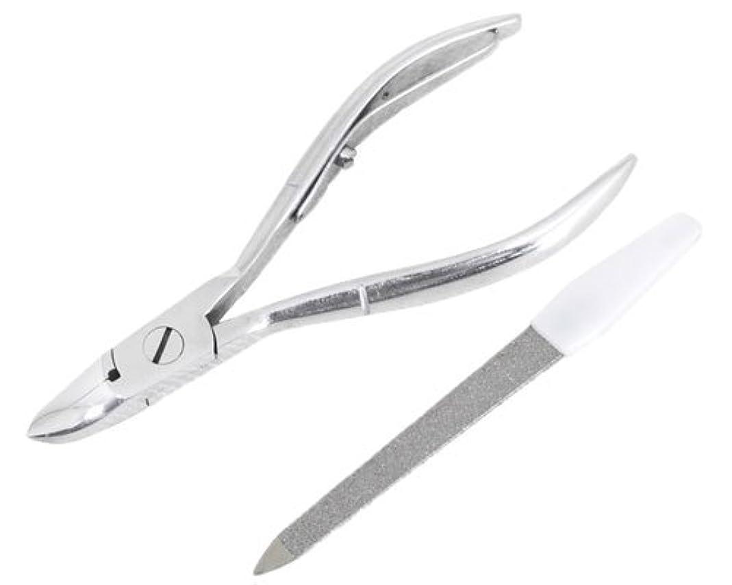 祖母ハイライト規模ニッパー型爪切り 爪仕上げヤスリ付 F-21 (スミカマ)