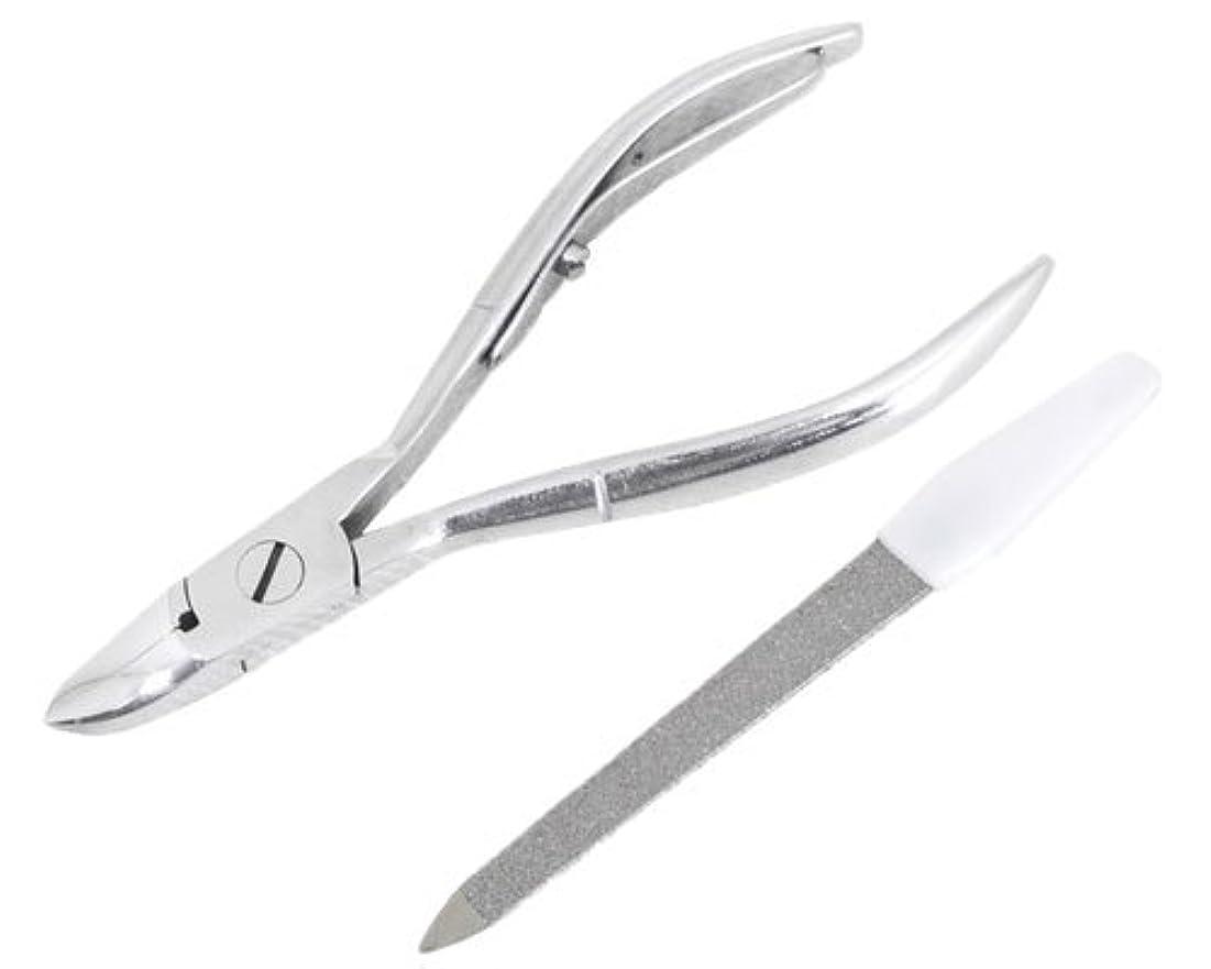 彫刻家ゴミ矩形ニッパー型爪切り 爪仕上げヤスリ付 F-21 (スミカマ)