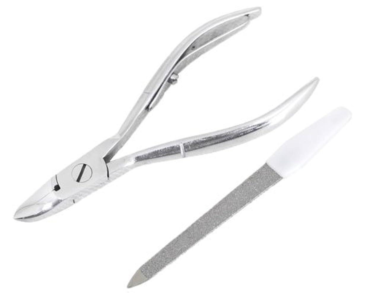 事前に弾性公園ニッパー型爪切り 爪仕上げヤスリ付 F-21 (スミカマ)