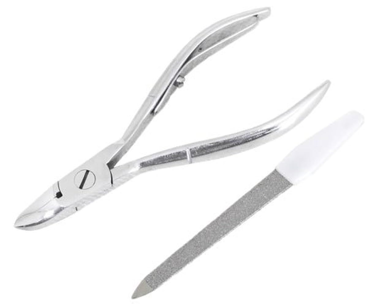 美しい経由で品種ニッパー型爪切り 爪仕上げヤスリ付 F-21 (スミカマ)
