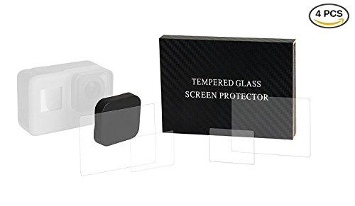 GoPro Hero6 Hero5用,レンズ保護カバー キャップ+スクリーン/レンズ用液晶保護フィルム4枚入り