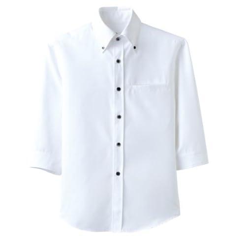スタイリッシュな【ボタンダウンシャツ】(七分袖/兼用)《031-EP-7619》 (3L, C-1 ホワイト)