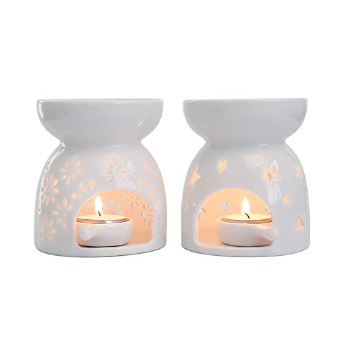 バズモーション光沢のあるRachel's Choice 陶製 アロマ ランプ ディフューザー アロマキャンドル キャンドルホルダー 花形&星形 ホワイト 2点セット