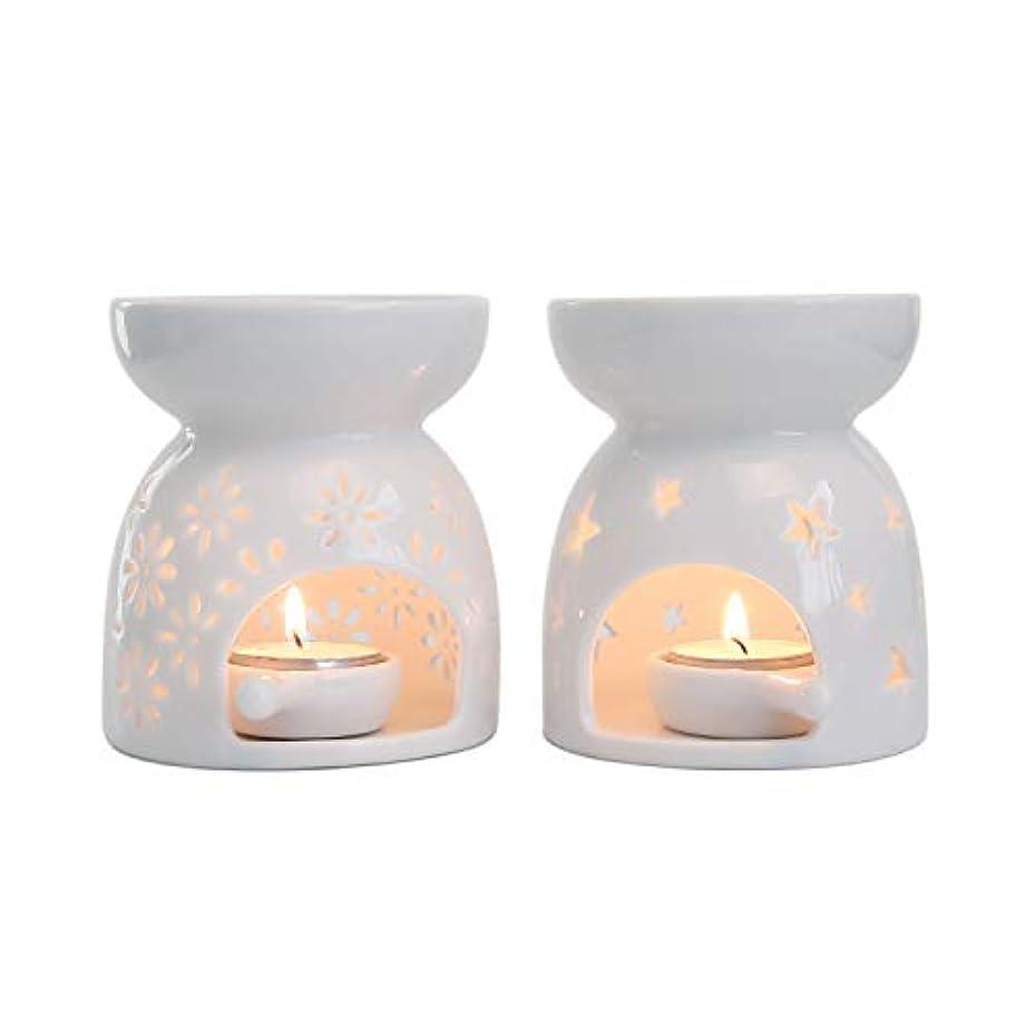 極めて重要な連結する作者Rachel's Choice 陶製 アロマ ランプ ディフューザー アロマキャンドル キャンドルホルダー 花形&星形 ホワイト 2点セット