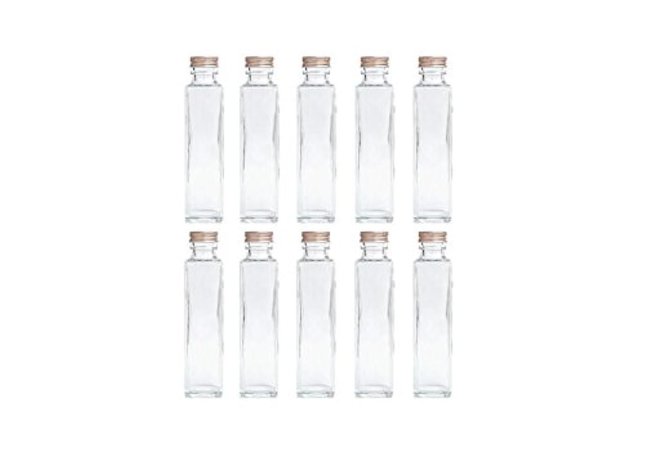 年金受給者シェフトランペットHULALA ハーバリウム用ガラス瓶 日本製 10本セット (角型 150ml)