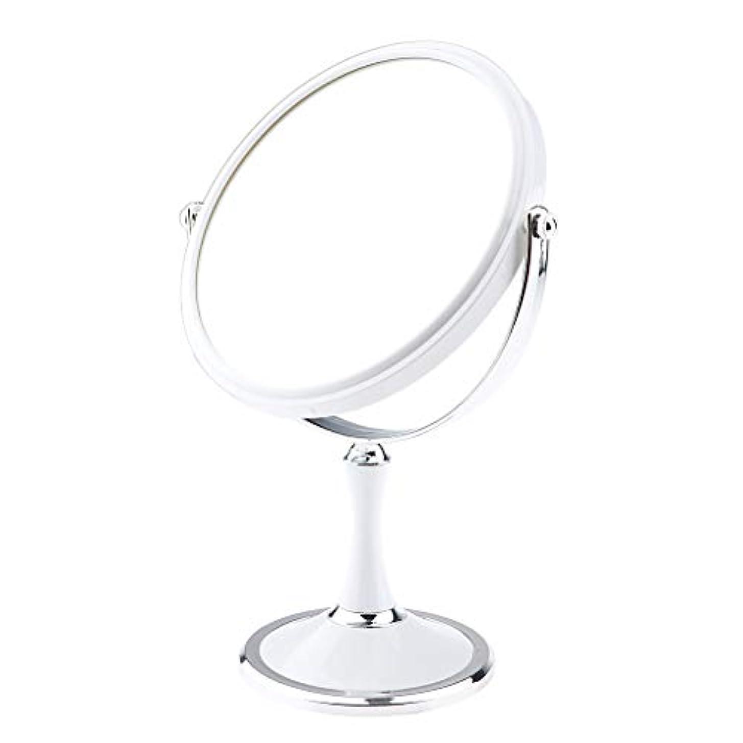 遊具モニター下品化粧鏡 スタンド 卓上ミラー メイクアップミラー メイクミラー 拡大鏡 360度回転 2色選べ - 白