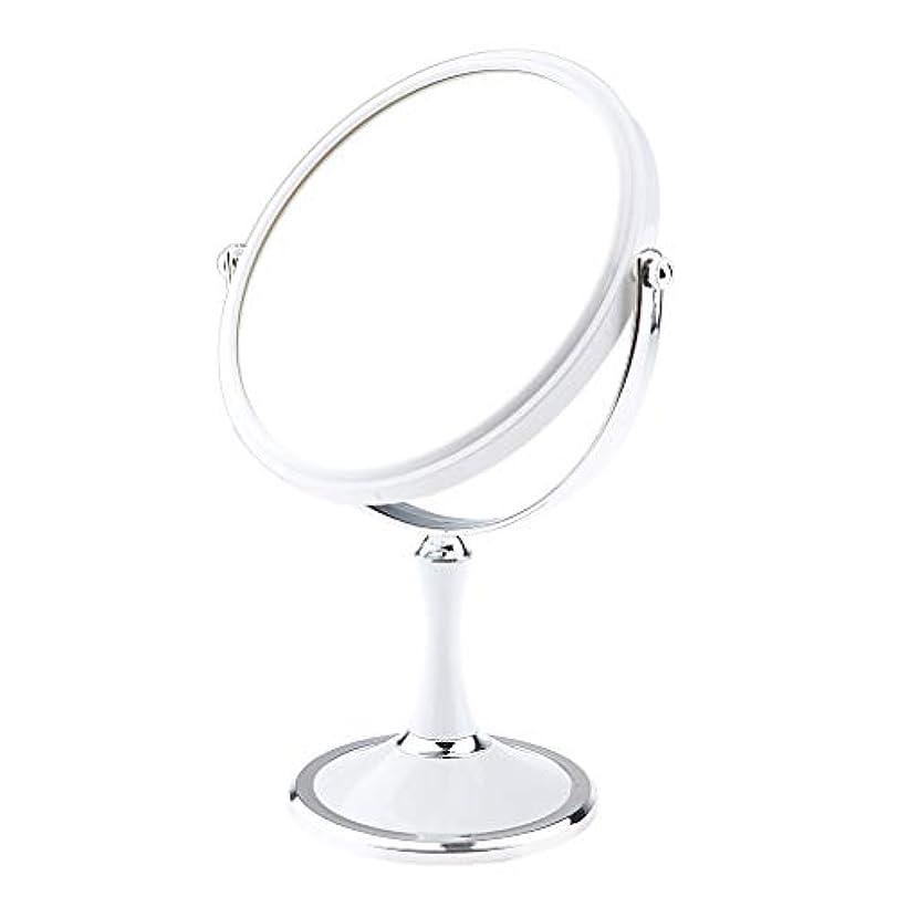ぐるぐる悪性の教え化粧鏡 スタンド 卓上ミラー メイクアップミラー メイクミラー 拡大鏡 360度回転 2色選べ - 白
