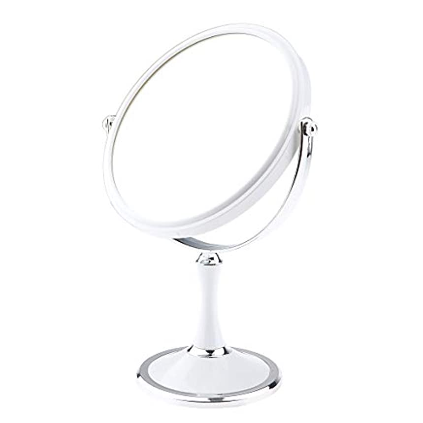 要塞ライフル川化粧鏡 スタンド 卓上ミラー メイクアップミラー メイクミラー 拡大鏡 360度回転 2色選べ - 白