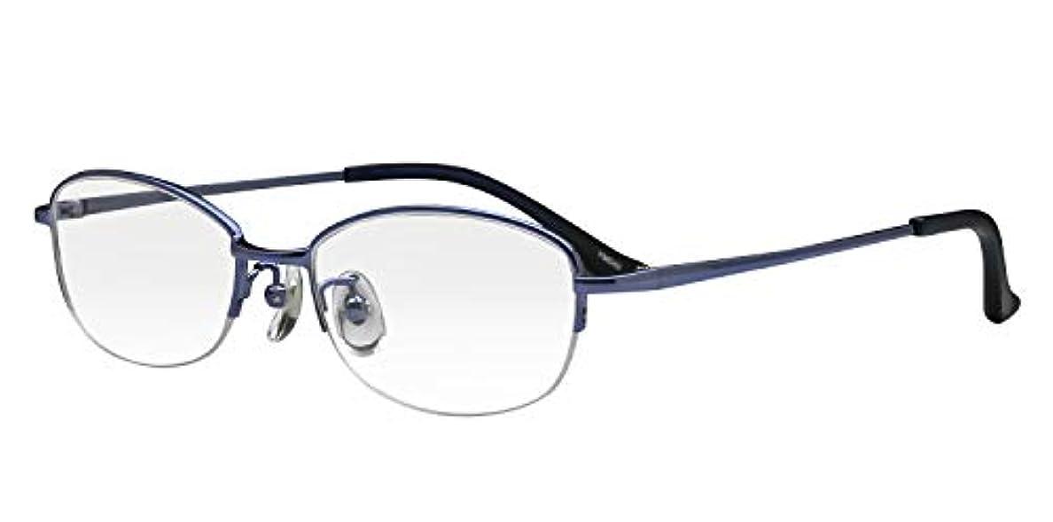 実用的優先権病者鯖江ワークス(SABAE WORKS) 老眼鏡 オーバル ハーフリム ブルー YM040C2 +2.00