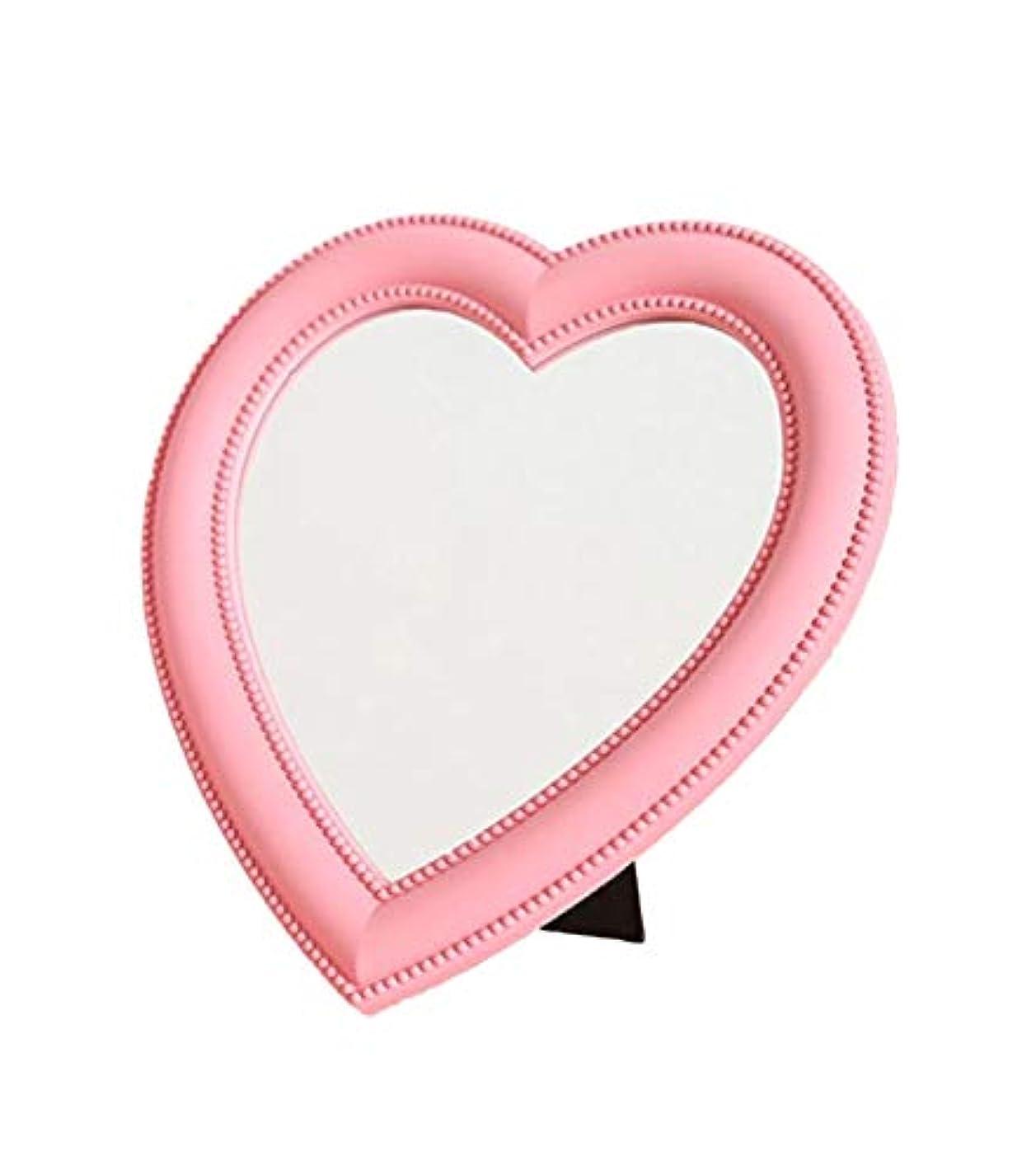 ひそかに瞳野球[ワズチヨ] 卓上 スタンド ミラー 鏡 ハート 型 デスクトップメイクアップミラー インテリア 壁 掛け 女の子 化粧 メイク アップ コンパクト プレゼント (ピンク)