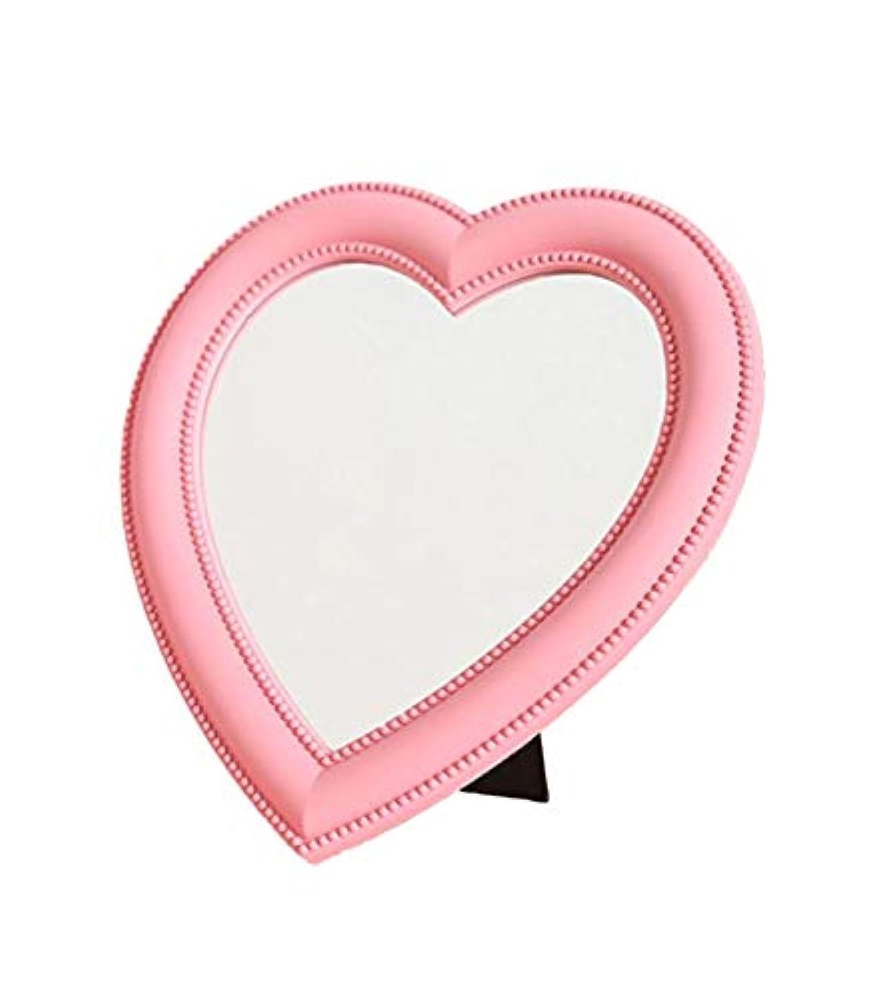 残高大気身元[ワズチヨ] 卓上 スタンド ミラー 鏡 ハート 型 デスクトップメイクアップミラー インテリア 壁 掛け 女の子 化粧 メイク アップ コンパクト プレゼント (ピンク)