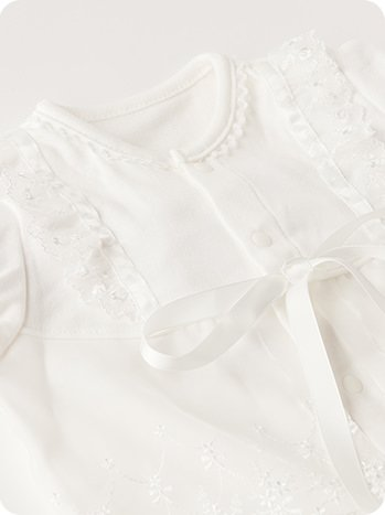 【送料無料メール便発送】【ER1984W】ベビードレス セレモニードレス (ドレス・フード 2点セット)日本製 (プランサー色:白)