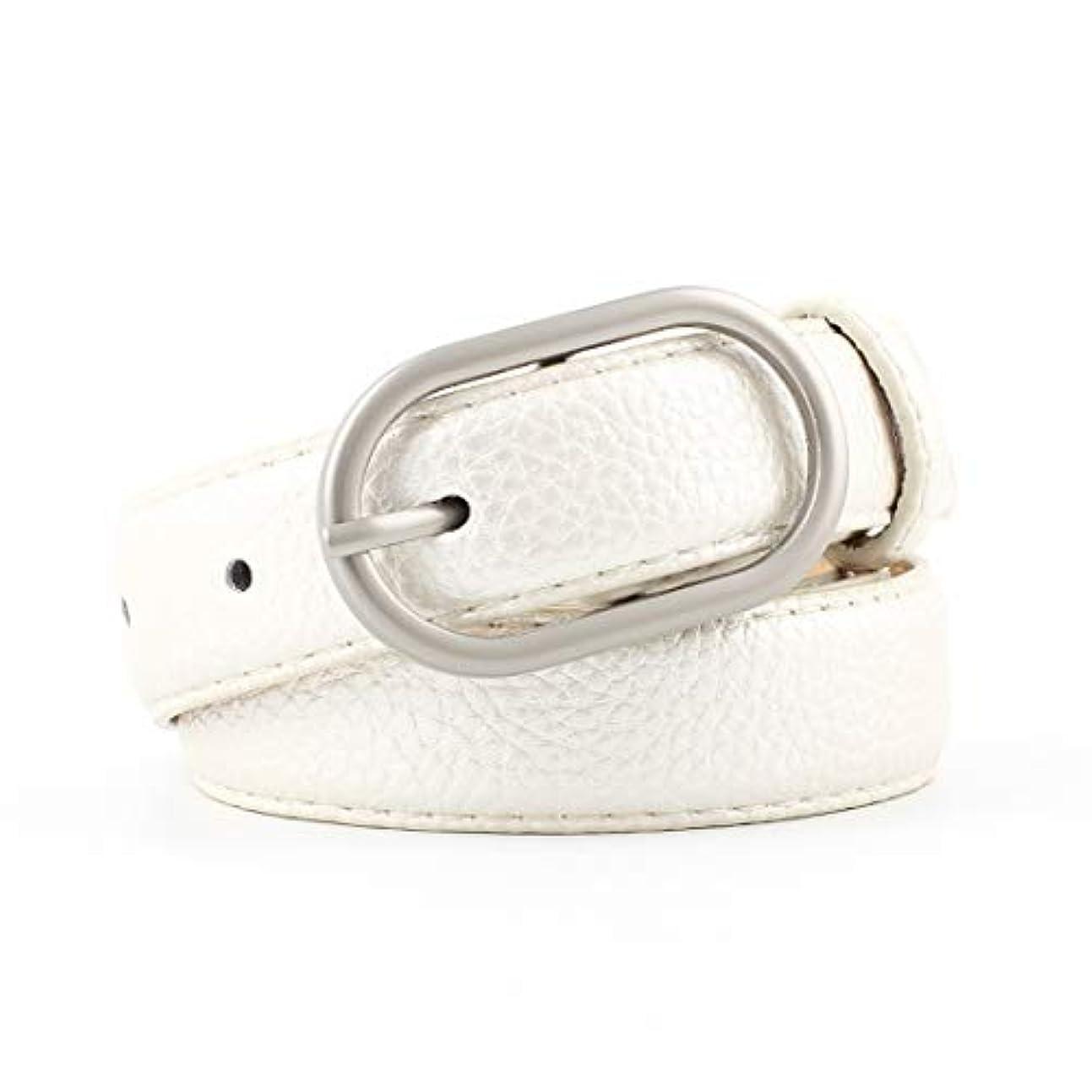 ハチ導入する元気JOYS CLOTHING メタルバックルベルト付きジーンズ用女性カジュアルドレスベルト (Color : White)