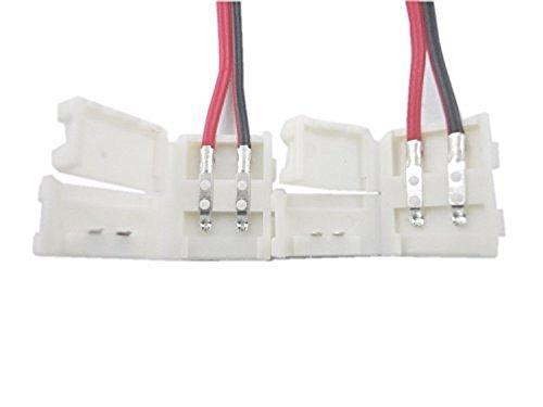 [10本セット] LEDテープ 延長用ケーブル コネクタ 8mm 3528 SMD 単色用 片側半田付け不要 (8mm 単色用延長ケーブル)