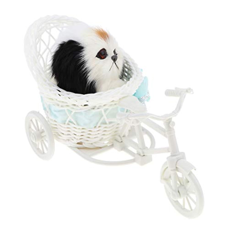 perfk 6カラー選ぶ 人工ファー製 犬 猫 ウサギ模型 モデル 三輪車 子どもおもちゃ - 犬b