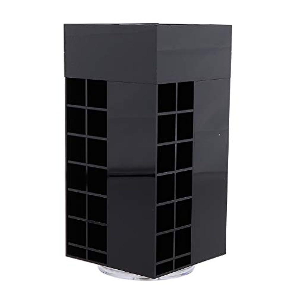 言い聞かせる不満他の場所SM SunniMix 口紅オーガナイザー 口紅ホルダー リップグロス 回転タワー アクリル ラック 3色選べ - ブラック