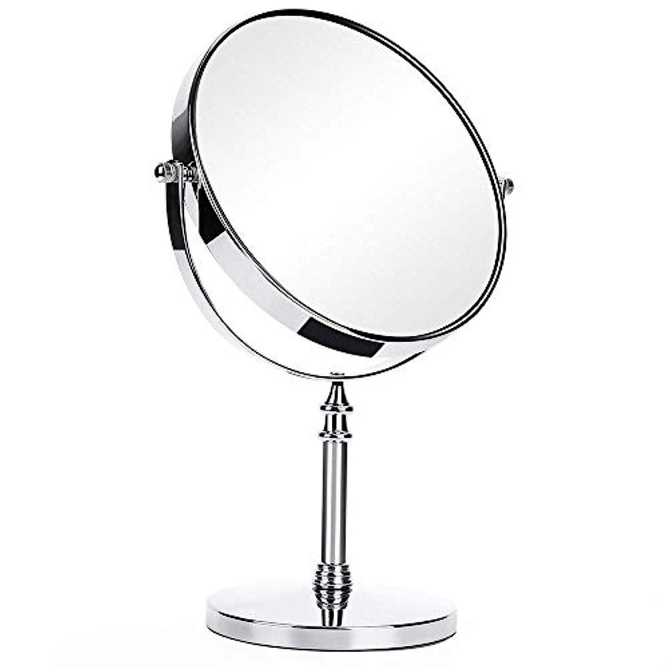 エチケットスポークスマンモンスター7インチ両面1X / 2X化粧鏡360度回転拡大鏡トラベルミラーベース取り外し可能