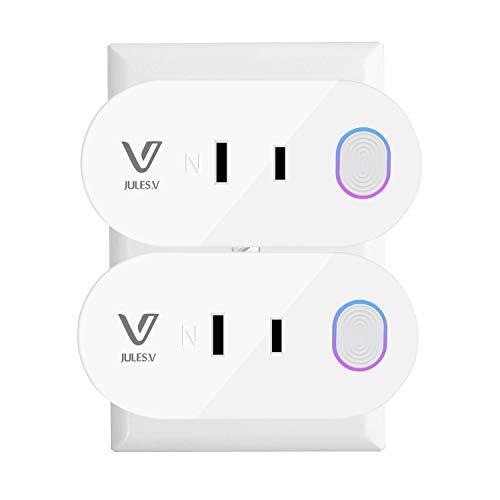 Wifi スマートプラグ JULES VミニWifiアウトレット(Alexa、Google Home&IFTTTに対応) リモートコントロールできる ハブは不要 ホワイト2個パック(アップグレードバージョン)