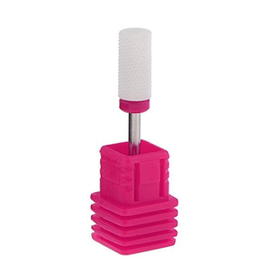 挨拶滑る理容師ネイルアート ドリルビット 研磨ヘッド 電気ドリルビット セラミック ネイル 全6色 - ピンク