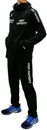 [ソレイルドール] ランニングウェア 上下セット パーカー ジャージ ロング パンツ メンズ ブラック M