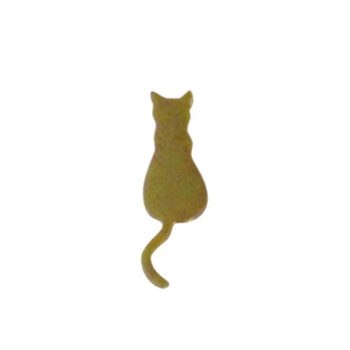 未亡人扱うショートカットリトルプリティー ネイルアートパーツ 猫4 ゴールド 10個