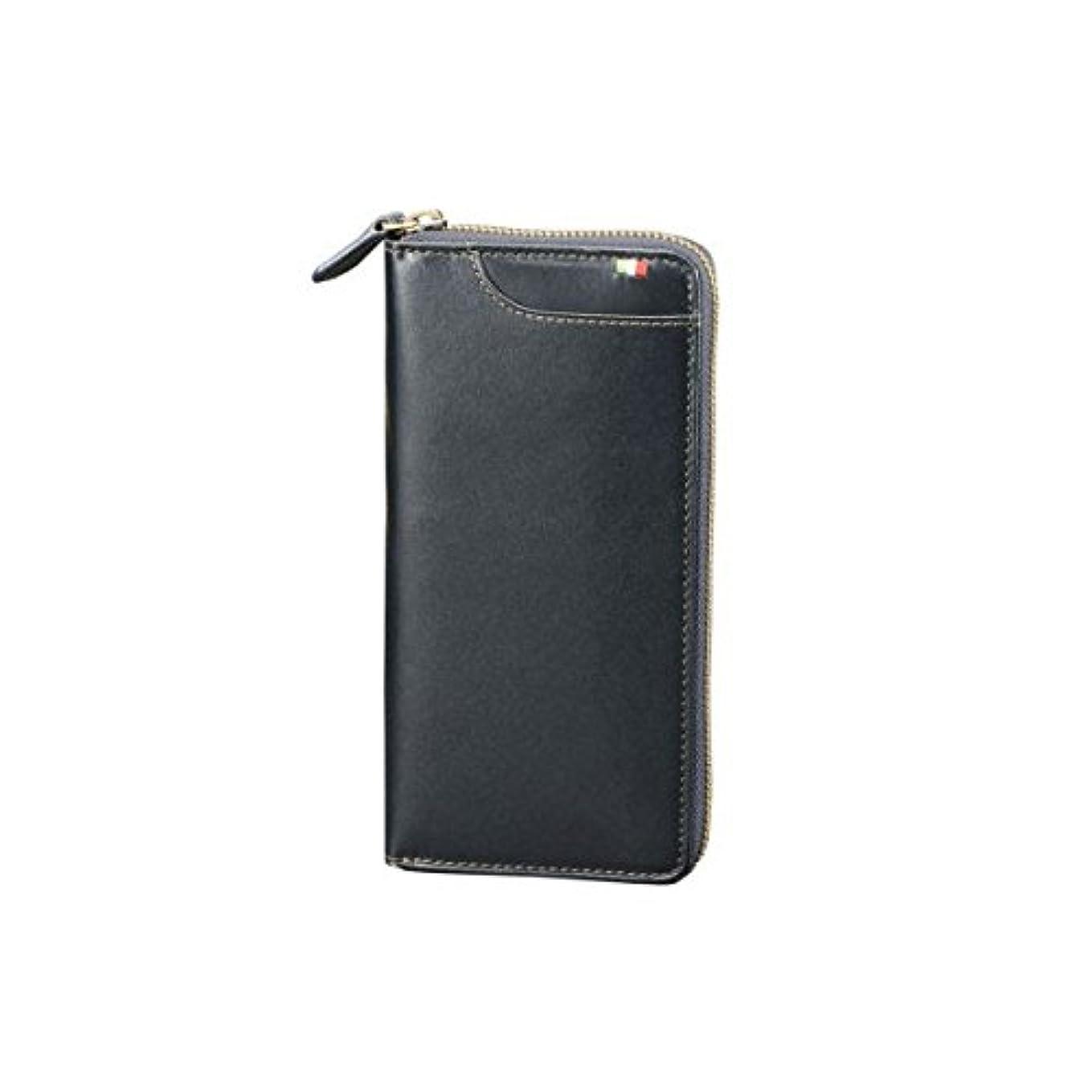 杖クラウンレンチMilagro ミラグロ タンポナートレザー ラウンドファスナー 長財布 ロングウォレット イタリア製ヌメ革 ネイビー CA-S-539-NV