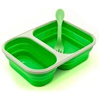 Eco Vessel Collapsible Silicone Lunchbox - Double Compartment, Green by Eco Vessel [並行輸入品]