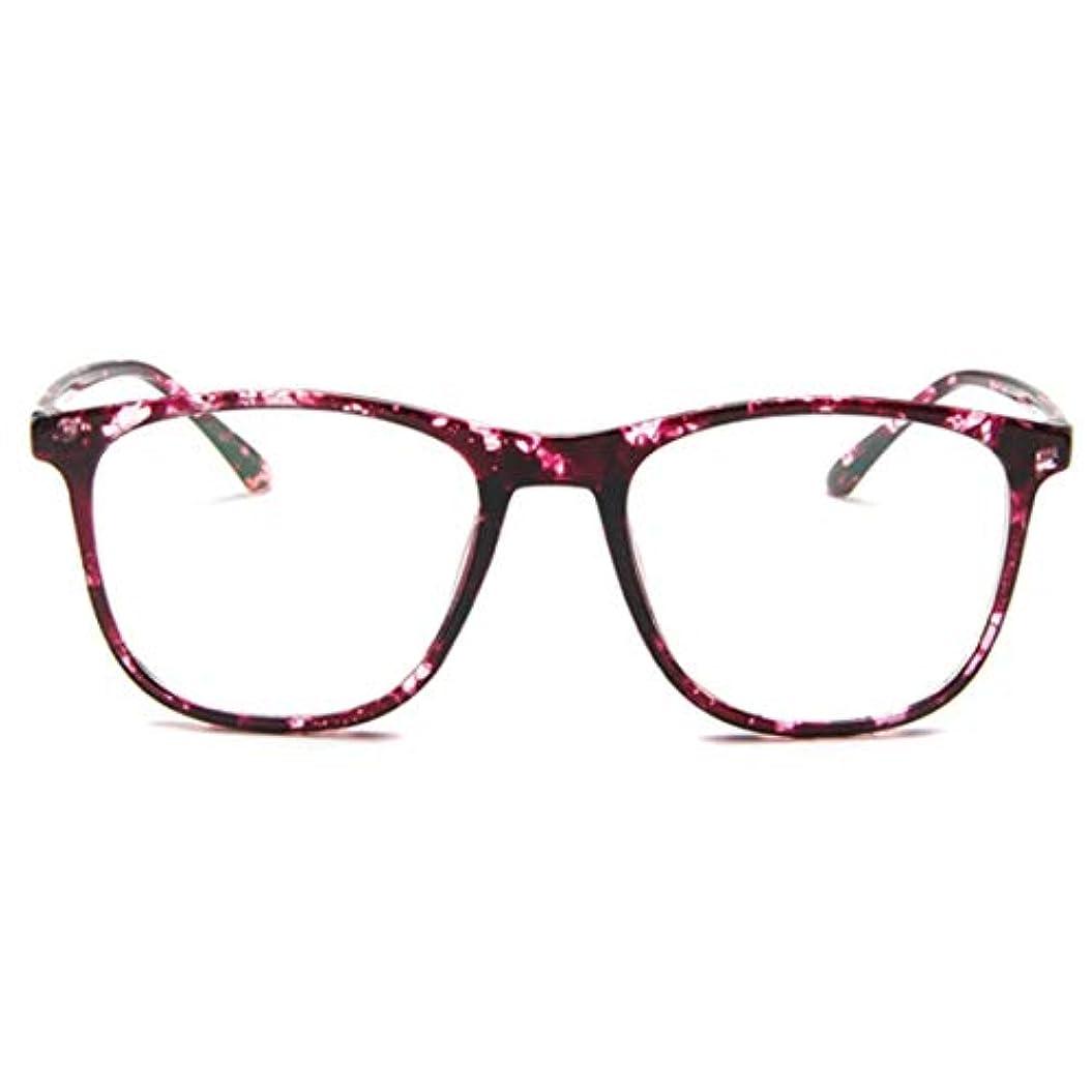 みがきます叫ぶ大事にする韓国の学生のプレーンメガネ男性と女性のファッションメガネフレーム近視メガネフレームファッショナブルなシンプルなメガネ-パープル