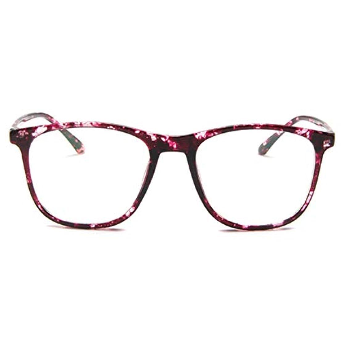 花火孤児プラス韓国の学生のプレーンメガネ男性と女性のファッションメガネフレーム近視メガネフレームファッショナブルなシンプルなメガネ-パープル