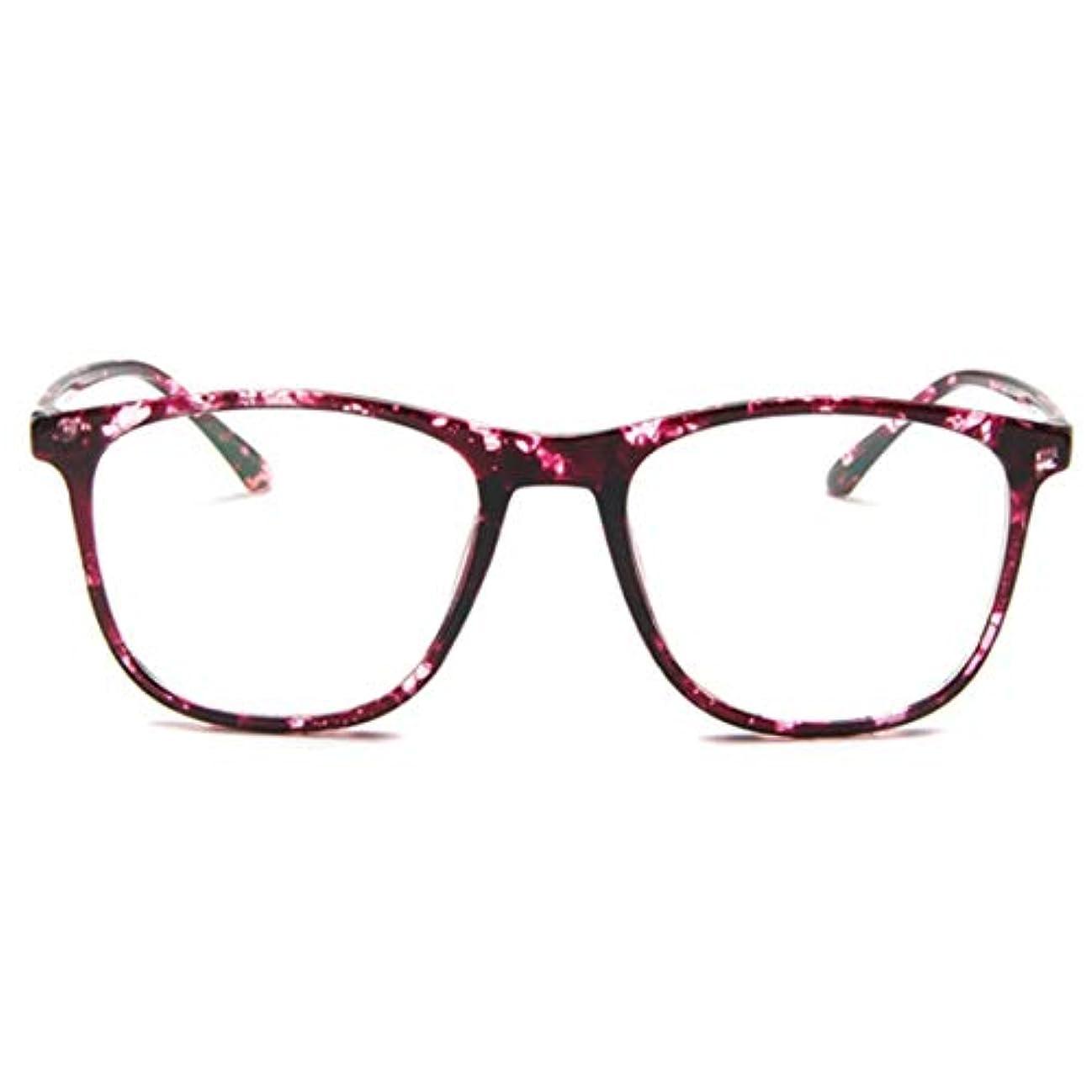 いたずらフリッパー処理韓国の学生のプレーンメガネ男性と女性のファッションメガネフレーム近視メガネフレームファッショナブルなシンプルなメガネ-パープル